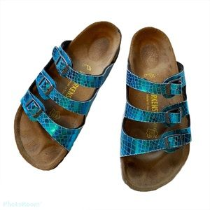 Metallic Florida Birks Blue Snakeskin Birkenstocks